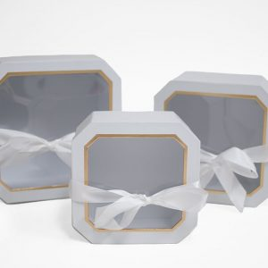 W5193 White Set of 3 Hexagon Square Flower Boxes With Window and Ribbon