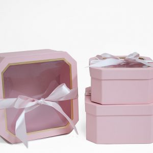 W5194 Pink Set of 3 Hexagon Square Flower Boxes With Window and Ribbon