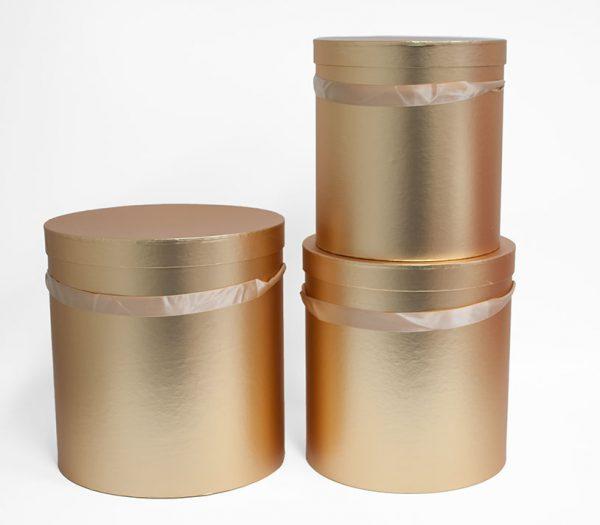 W5641 Set of 3 Round Barrel Gold