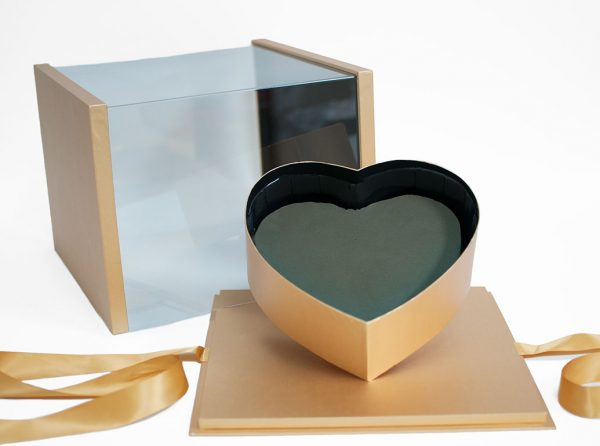 1119AGold Gold Acrylic Square Flower Box Tilted Heart Center And Drawer