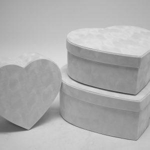 W7230 White Velvet Heart Shaped Box Set of 3