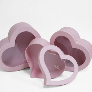 W9725pink Pink Heart Shape Flower Boxes With Window Set of 3