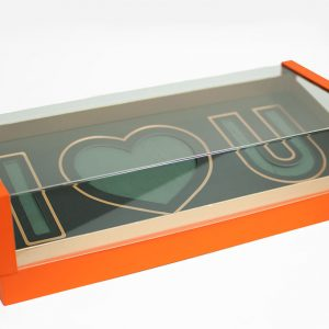 Orange Acrylic I Love You Flower Box Comes With Liners and Foams