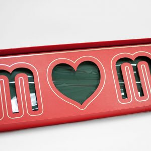 Red Rectangular Love Mom Flower Box With Liners and Foams