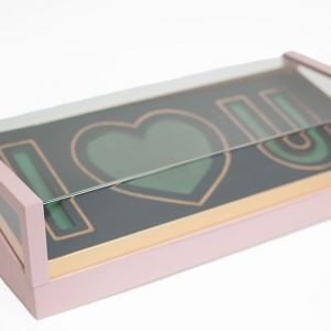 Pink Acrylic I Love You Flower Box Comes With Liners and Foams