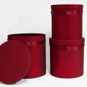 100333red Set of 3 Round Barrel Red