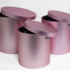 100333 Rose Gold Set of 3 Round Barrel
