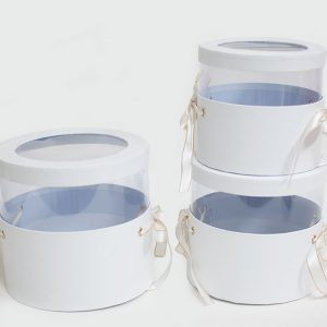 W6787 White Set of 3 Round Flower Boxes With Window