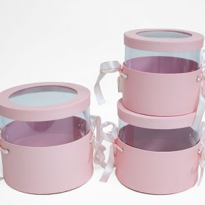 W6788 Pink Set of 3 Round Flower Boxes With Window