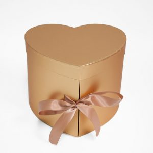 W7491 Gold Heart Shape Flower Box (Two-Layers)
