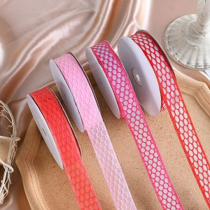 313125 1 Inch Lace Oval Net Pattern Ribbons 1 inch By 20 Yards