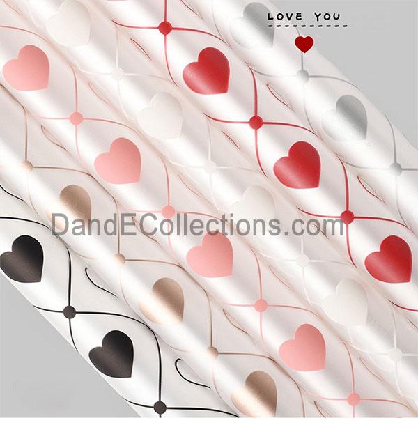 Plastic Clear Love Heart Flower Wraps