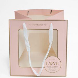 Pink Square Window Bag